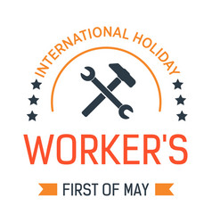 wrench in hand labour day isolated icon first of vector image