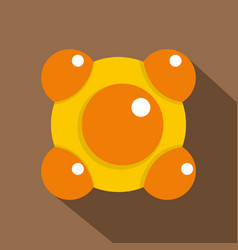 Yellow and orange molecules icon flat style vector