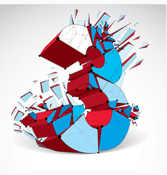 Abstract low poly wrecked colorful number 3 with vector