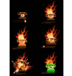 burning telephone vector image