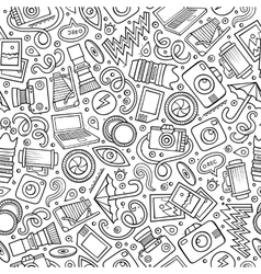 Cartoon cute hand drawn Photo seamless pattern vector image vector image