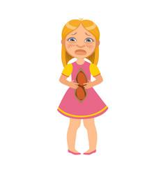 girl with hurting bellysick kid feeling unwell vector image vector image