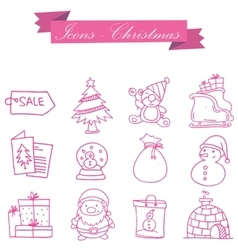 Object christmas set icons collection vector