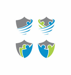 people shield logo template vector image vector image