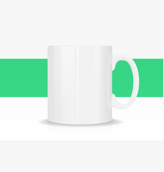 template ceramic white mug with vector image vector image