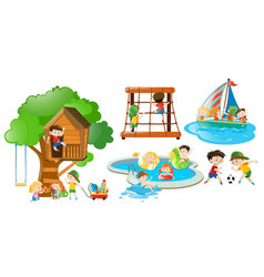 children having fun doing different activities vector image vector image