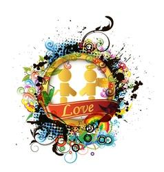 colorful valentines emblem vector image