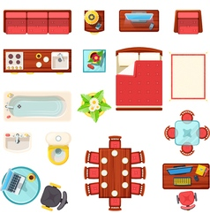 Home Furniture Top View Set vector image vector image