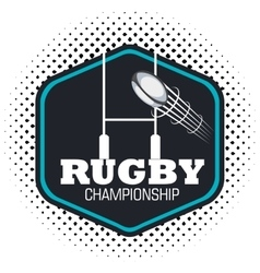 rugby championship ball flying and post goal vector image
