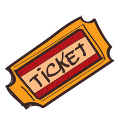 ticket icon with a black outline on a white vector image