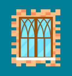 vintage window in flat design vector image vector image