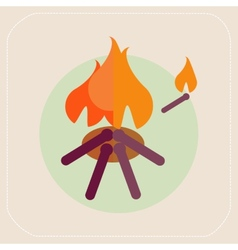 Wooden camp fire icon vector image vector image