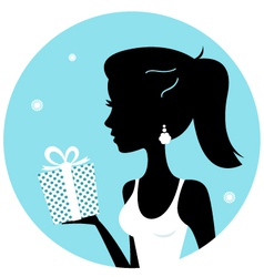 Beautiful woman silhouette with gift vector image