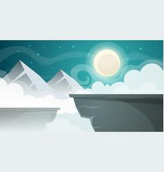 cartoon night landscape mountain moon vector image vector image