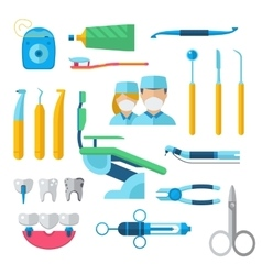 Flat dental instruments set dentist tools concept vector image vector image