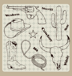hand drawn cowboy retro vintage elements vector image