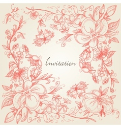 hand drawn floral frame vector image vector image
