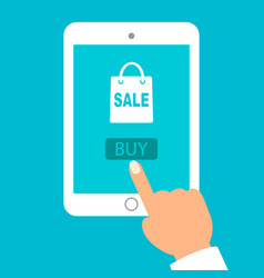 hand held computer gadget online shopping flat vector image vector image