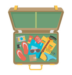 Packed suitcase for summer holiday - vector