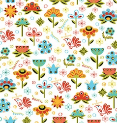 Seamless Flowers White Pattern vector image