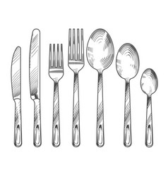 sketch silver knife fork and spoon hand drawn vector image vector image