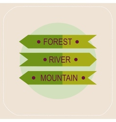 Arrows forest river mountain icon vector image vector image