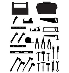 black silhouette set tools vector image