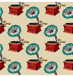Retro gramophone seamless pattern vector image vector image