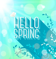 Spring greeting butterfly on letters with long vector image