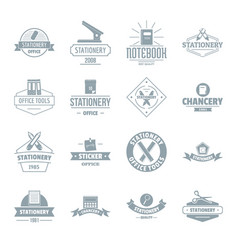 stationery logo icons set simple style vector image