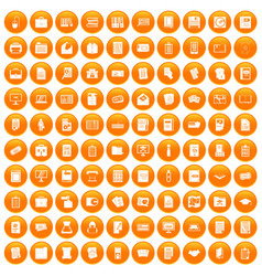 100 document icons set orange vector