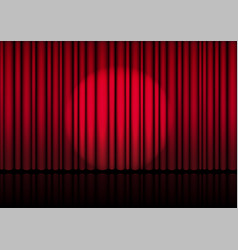 3d mock up realistic open red curtain on stage vector