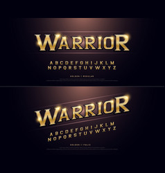 alphabet golden metallic and effect designs vector image
