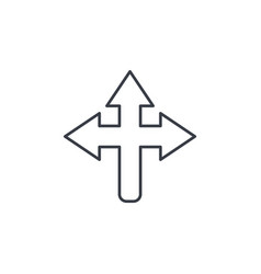 Arrow cross three way thin line icon linear vector