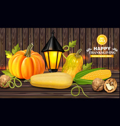 autumn harvest on wooden background fresh vector image