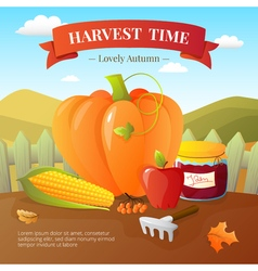Autumn harvest time flat poster vector