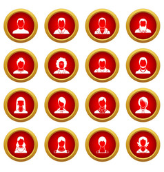 avatars set icon red circle set vector image
