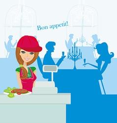 Beautiful saleswoman at the bar vector image