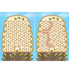 Bees maze vector image