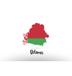 belarus country flag inside map contour design vector image