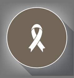 Black awareness ribbon sign white icon on vector