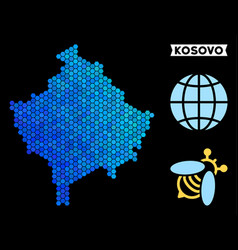Blue hexagon kosovo map vector