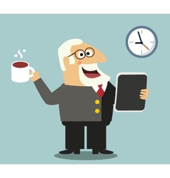 Boss with tablet and coffee vector