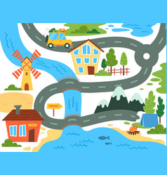 brightly colored map for kids showing a family vector image