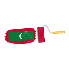 Brush stroke with maldives national flag isolated vector