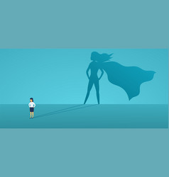 Business woman with big shadow superhero super vector