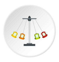 Carnival swing ride icon circle vector
