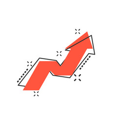 cartoon arrow growing graph icon in comic style vector image