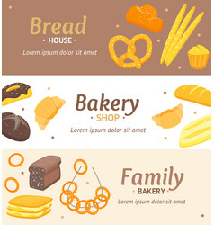 Cartoon color bakery banner card horizontal set vector