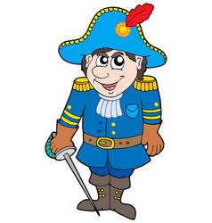 Cartoon soldier in blue uniform vector